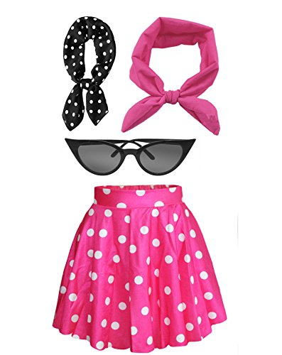 Fancy 50s Outfit Women's High Waist Candy Colors Polka Dot Skirt Costume Outfit (Hot Pink)