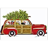 "Red Woodie Christmas Wagon 100% Cotton Flour Sack Dish Tea Towel - Mary Lake Thompson 30"" x 30"""
