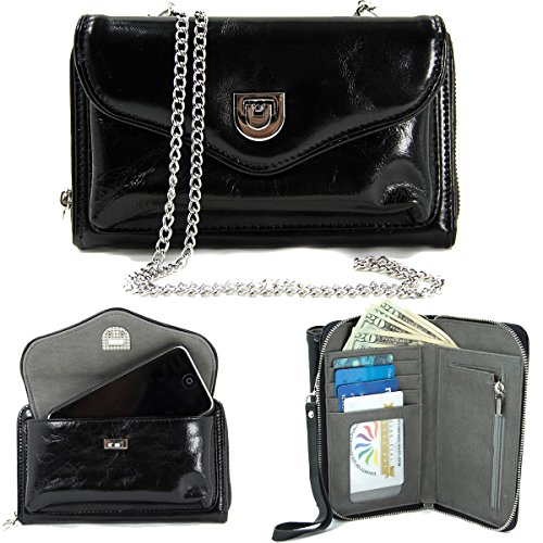 KroO Carry All Universal Faux Leather ::Smartphone:: Wallet Clutch Micromax A117 Canvas Magnus, Canvas 4 A210|Black