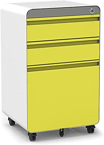 3-Drawer Filling Cabinet, Metal Vertical File Cabinet with Hanging File Frame for Legal Letter File Install-Free Anti-tilt Design and Lockable System Office Rolling File Cabinet-Yellow White