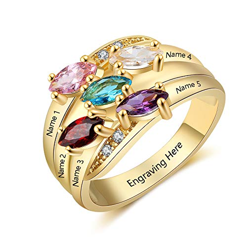 JewelOra Personalized Mothers Rings with 5 Simulated Birthstones Family Promise Rings for Her Engraved 5 Names (Gold, 9)