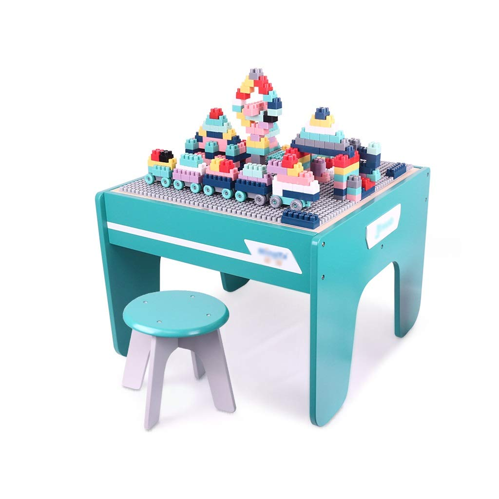 LIUFS-TOY Children's Wooden Table 3-6 Years Old Puzzle Building Blocks Wall Assembled Toys Girls Boys Multi-Function (Size : L)