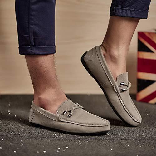 Mocasines Zapatos Gris Casual sólido Zapatillas para Hombres Alpargatas Gamuza de de QinMM Plano 77Prp