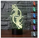 3D Lizard Totem Night Light 7 Color Change LED Table Desk Lamp Acrylic Flat ABS Base USB Charger Home Decoration Toy Brithday Xmas Kid Children Gift
