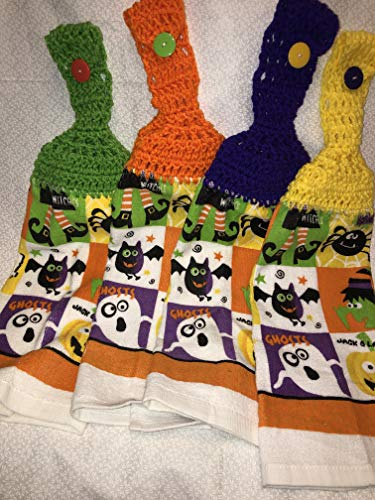 Free shipping to USA included in price - set of 4 CROCHET KITCHEN hand TOWEL LIGHT to Medium weight terry cloth single sided Halloween - 4 different color 100% acrylic yarn top - smoke free - pet free]()