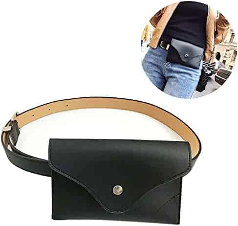 Womens leather fanny pack ,VITORIA'S GIFT removable Belt with MINI Purse Travel Cell Phone(not more than 5 inch) Bag