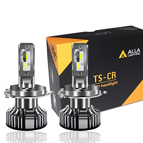 - Alla Lighting 10000lm LED H4 Headlight Bulbs Extremely Super Bright TS-CR 9003 HB2 H4 LED Headlight Bulbs Conversion Kits Bulb, 6000K Xenon White