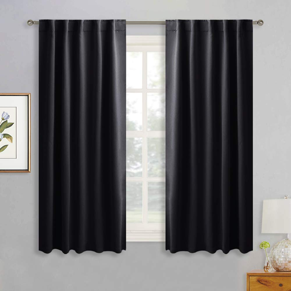 RYB HOME Blackout Curtains Pair - Solid Country Curtains Window Decorating Panels Light Block Drapes for Bedroom Kitchen Office Privacy Curtains for Gift, Wide 42 x Long 54 inch, Black, Set of 2