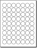 """1"""" Round Glossy Labels - White Adhesive Stickers Printable with Inkjet/Laser Printers - 10 Sheets / 630 Labels"""
