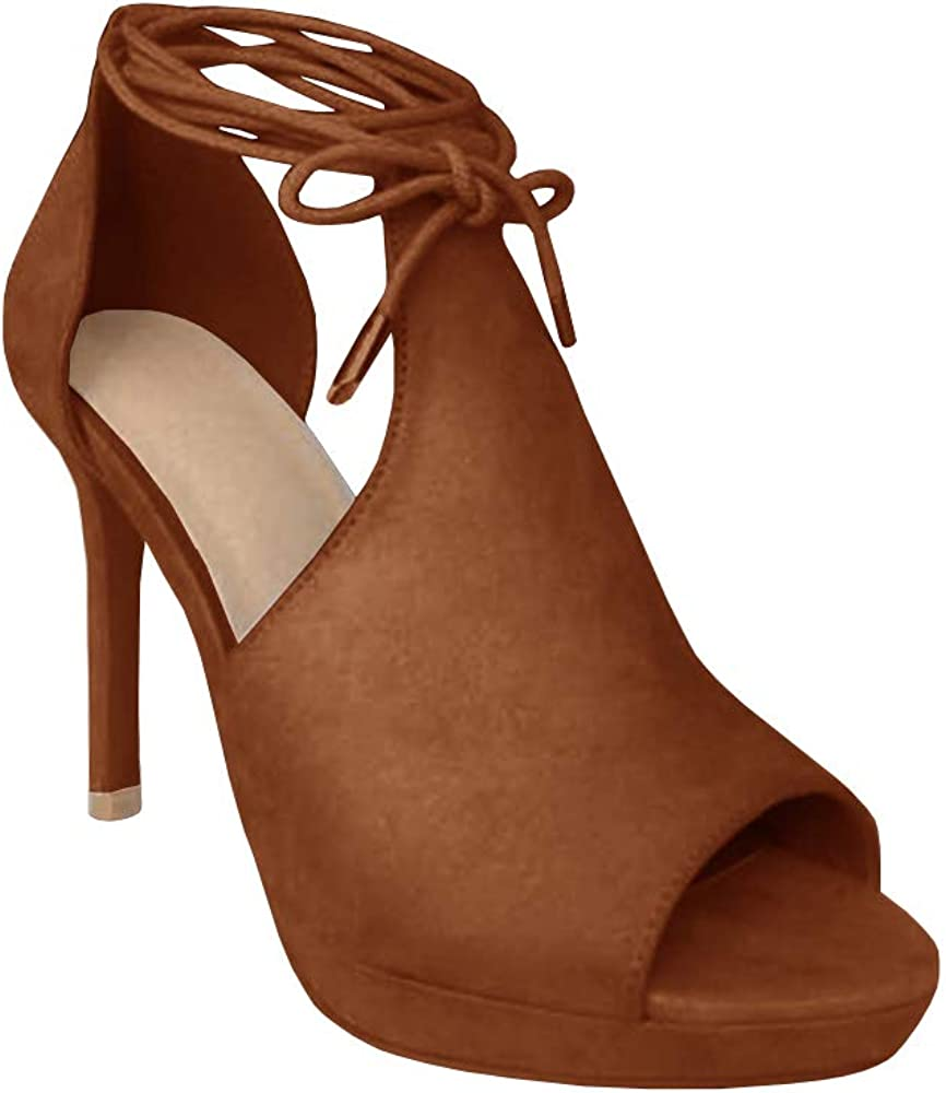 Runcati Womens Peep Toe Thin High Heels