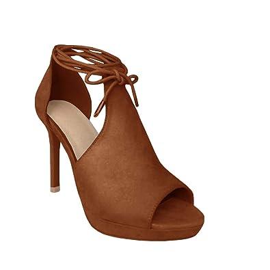 ca83dc2c7a625 Runcati Womens Peep Toe Thin High Heels Pumps Suede Strappy Ankle Wrap  Platform Stiletto Sandals Brown