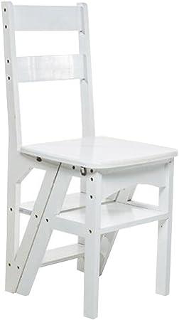 LAXF- Sillas Escalera Plegable Madera Multifuncional 4 Layer Bamboo Step Plegable Silla Muebles para Adultos para la Cocina Sala de Estar Dormitorio Baño (Color : Blanco): Amazon.es: Hogar