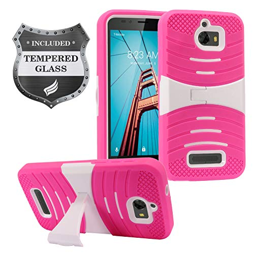 (Coolpad Defiant 3632A - Hybrid Armor Protective Case with Stand + Tempered Glass Screen Protector - White/Hot Pink)