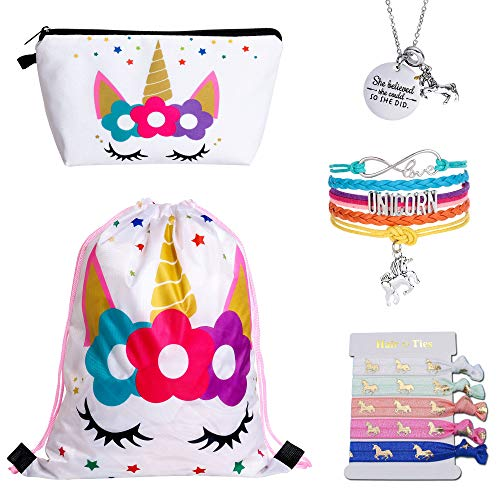 4MEMORYS Unicorn Gifts for Girls Including Unicorn Drawstring Backpack/Makeup Bag/Inspirational Necklace/Bracelet and Hair Ties (White Ⅱ)