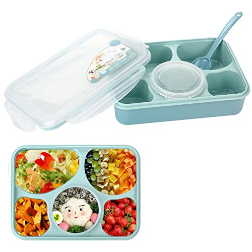 Lunch Bento Box, Iwotou Microwave and Dishwasher Safe Lunch Box with 5+1 Separated Containers (Blue)