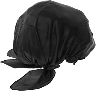 MagiDeal Cap Bonnet Black Cap Pure Silk Cap Head For Sleeping Night