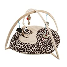 Crazy Cart Cat Activity Play Mat Pet Padded Bed with Hanging Toys - Giraffe
