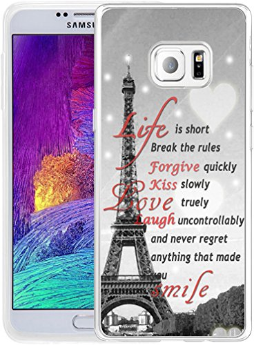 Tower Note (Note 5 Case Eiffel Tower, Hungo Samsung Galaxy Note 5 Cover Soft Tpu Silicone Protective Eiffel Tower Inspirational Life Quotes)