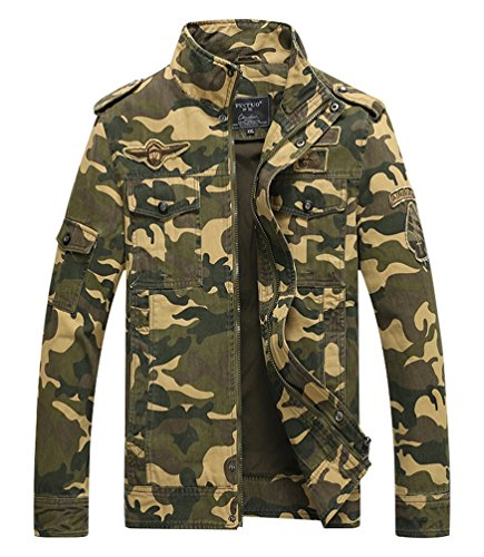 Vcansion Men's Cotton Lightweight Army Jacket Windbreaker Trench Coat Khaki Camo - Bean Watches Mens Ll