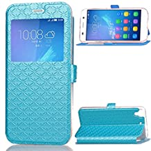 Huawei Y6 / Huawei Honor 4A Case, SATURCASE Luxury Rhombus Magnet PU Leather View Window Stand Card Slot Case Cover for Huawei Y6 / Huawei Honor 4A (Blue)