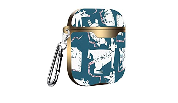 Slim Form Fitted Printing Pattern Cover Case with Carabiner Compatible with Airpods 1 and AirPods 2 Rooster