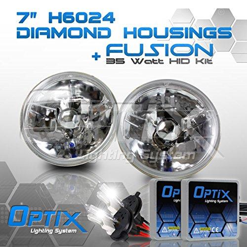 Round Sealed Beam Headlights (6 Inch Round Sealed Beam Headlight Conversion - fits H6024 - Clear Glass Diamond Cut Housing + H4 35W HID Xenon Kit Bi-Xenon 6000K Diamond White)
