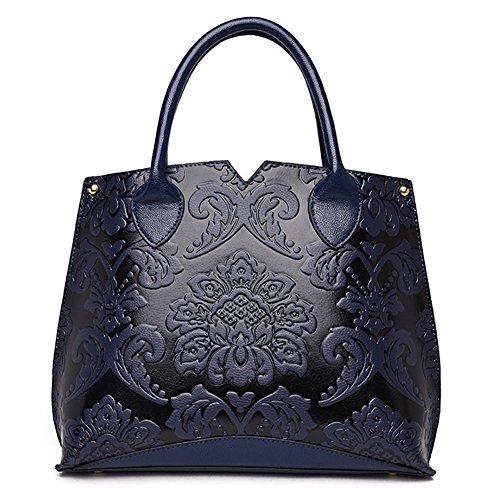 (JVPS 27 - L) 2018 Nuevo bolso en verdadero estilo chino VERA Cuero Naranja Negro Azul marino Azul marino Rojo Verde Oeste Mujeres Moda Bolso de hombro Bolso de hombro Bolsa de mensajero Azul Marino