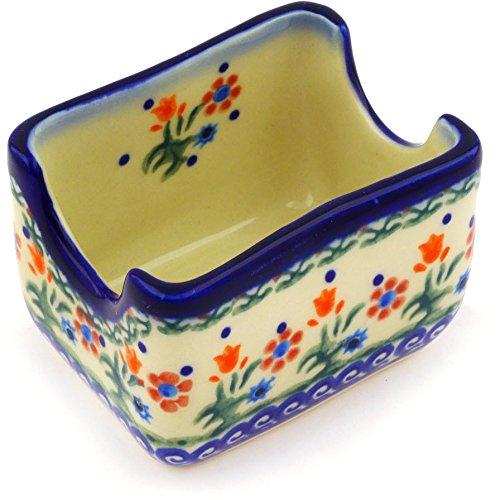 [Polish Pottery Sugar Packet Holder 3-inch Spring Flowers] (Polish Sugar)