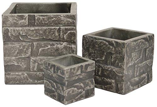 (Cubes Bricks Fiber Planter Set, Color: Natural Cement)