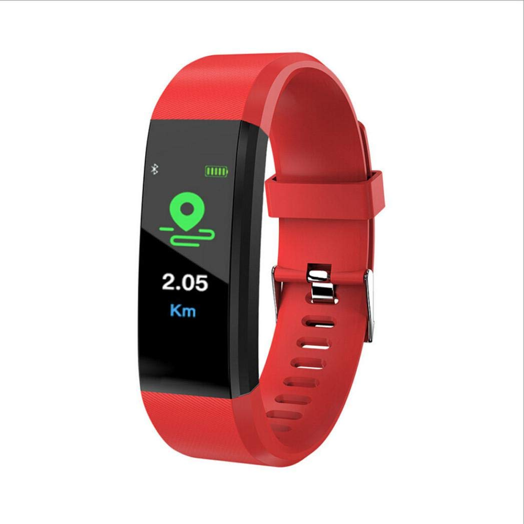 Lovewe Fitness Tracker, Activity Tracker Watch with Heart Rate Monitor, Waterproof Smart Fitness Band with Step Counter, Calorie Counter, Pedometer Watch for Kids Women and Men, Android iOS (Red)