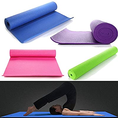 "Masione® Yoga Mat 6mm Thick PVC Non-slip Pad High Density Pilates Exercise Fitness Mats with Carry Bag 68""x24"" (Purple/Pink/Green/Blue)"