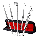 Dental Tool Set, ElleSye 5 PACK Dental Hygiene Tool Kit for Home Oral Care, Stainless Steel Tartar Remover Dental Pick Dental Scaler Dental Tweezers Anti-fog Mouth Mirror for Personal and Pet Use