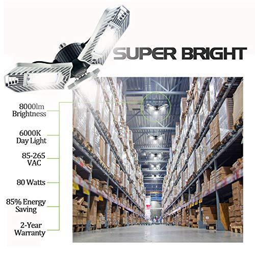 Garage Lights, 80W E26 8000 Lumens LED Garage Light, Deformable Garage Ceiling Lighting, Work Light for Garage, Barn, Workshop, LED High Bay Light Bulb. by Lead-Go (Image #3)