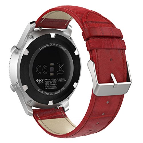 MoKo Band Compatible with Samsung Gear S3/Gear S3 Classic/Frontier/Galaxy Watch 46mm/Ticwatch S2/E2/pro/Huawei Watch GT 2 46mm, 22mm Genuine Leather Crocodile Pattern Replacement Strap, RED