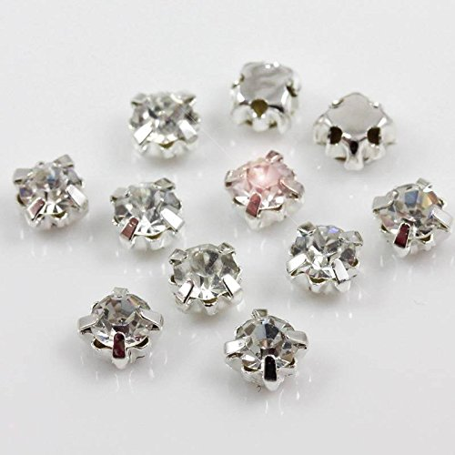 *AAA* SEW ON CLEAR CRYSTAL GLASS RHINESTONES DIAMANTE GLASS GEMS TOP QUALITY (50, 4mm - H1794)