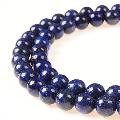 PLTbeads 8mm Natural Lapis Lazuli Gemstone Round loose Beads Approxi 15.5 inch 48pcs 1 Strand per Bag for Jewelry Making Findings Accessories-Blue