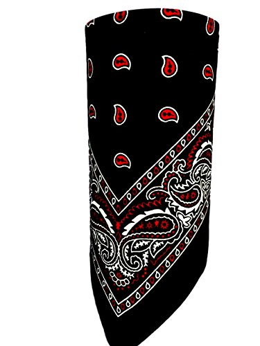 Black, Red and White Paisley VELCRO®Brand Adjustable Close Bandanna Mask Face Cover Reversible Dust, Bug Mask, Sun and Exhaust Protection, Motorcycle ATV Rider Hand Made By My Skull -