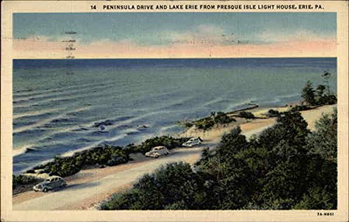 - Peninsula Drive and Lake Erie for Presque Isle Light House Erie, Pennsylvania Original Vintage Postcard