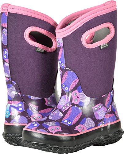 Bogs Classic High Waterproof Insulated Rubber Neoprene Rain Boot Snow, Owl Print/Purple/Multi, 13 M US Little Kid