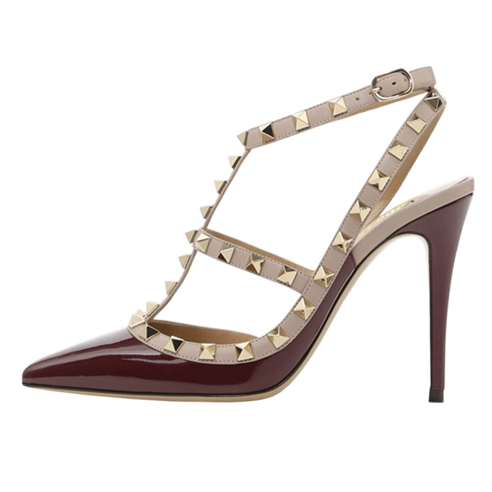 Burgundy(patent) VOCOSI Women's Pointed Toe Studded Ankle Strap Slingback Stiletto Heels Dress Party Wedding Rivets Sandals