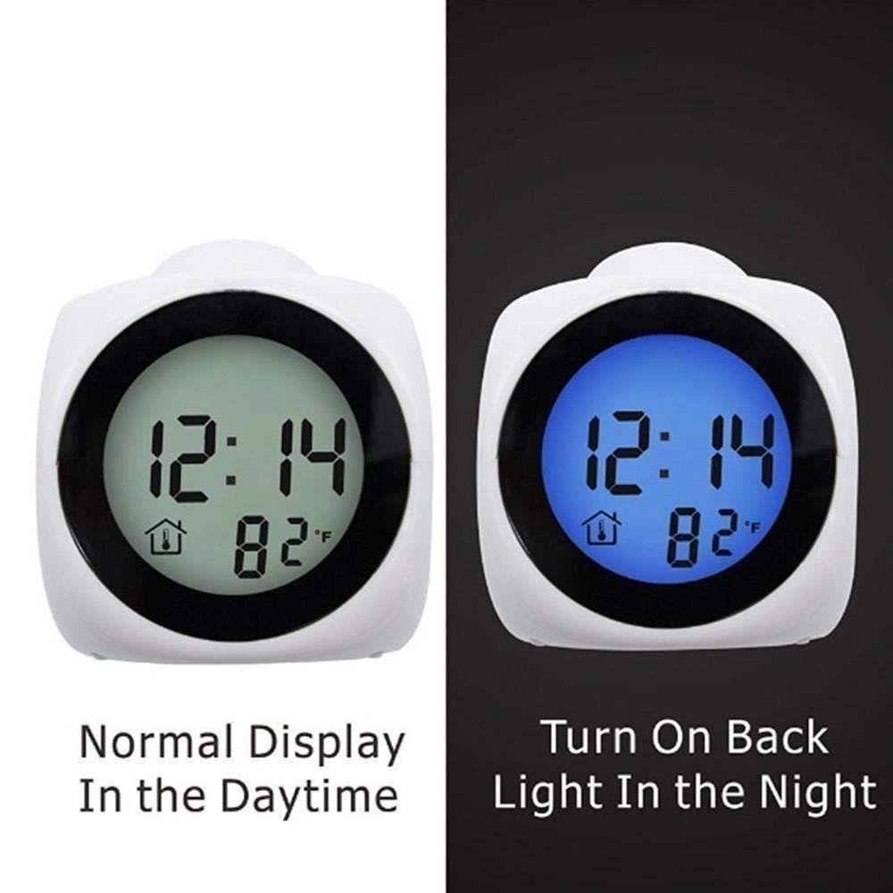 YINGXINXWM Horloge Num/érique USB R/éveil Num/érique Fonction Appel Vocal LED Projection Alarme Temp/érature@Noir