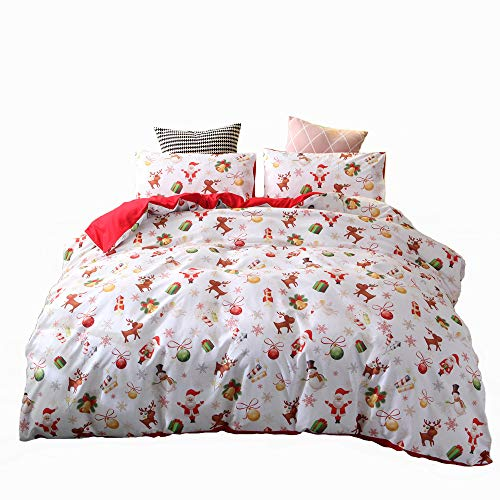 Christmas Deer Printed Duvet Cover Set Twin Size with 1 Sham Santa Claus Pattern Bedding Cover Set Xmas Home Decor Kids