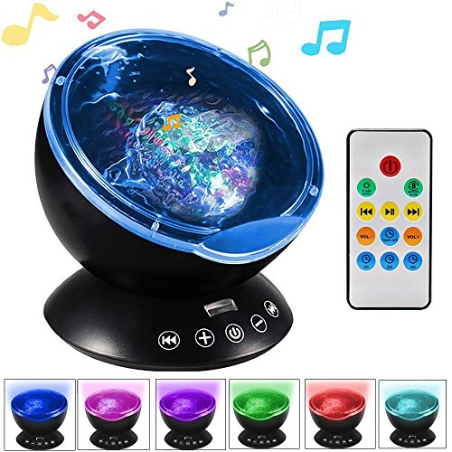KBAYBO Remote Control Ocean Wave Projector 12 LED &7 Colors Night Light with Built-in Mini Music Player for Living Room and Bedroom (Black)