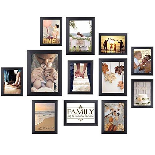 HOMEMAXS Picture Frame Collage Photo Frame Wall Mounting Photo Frames Eco-Friendly Family Photo Frame 12 Set (Black)