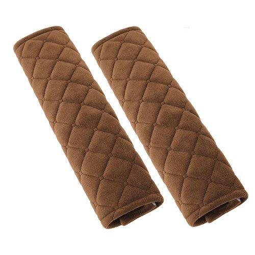 Soft Velvet Lattice Pattern Car Seat Belt Pads Cushion (Coffee Lattice)