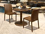Panama Jack Outdoor 3-Piece St Barths Bistro Side Chair Set, Includes 2 Side Chairs and 30-Inch Round Woven Table