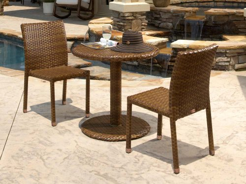 Panama Jack Outdoor 3-Piece St Barths Bistro Side Chair Set, Includes 2 Side Chairs and 30-Inch Round Woven (Contemporary Woven Leather Bench)