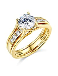 Pretty Jewellery Yellow Gold Over Sterling Silver Round Diamond Bridal Wedding Band Engagement Rings Set