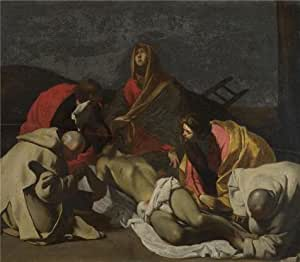 The Linen Canvas of oil painting 'After Massimo Stanzione - Monks and Holy Women mourning over the Dead Christ,18th century or earlier' ,size: 12x14 inch / 30x35 cm ,this Vivid Art Decorative Canvas Prints is fit for Wall art artwork and Home artwork and Gifts