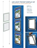 Suspended LED Light Pocket for Real Estate Window Displays - Cable Suspended Poster Display Kit with 2 (two) LED Light Pockets - Single Sided (Insert Size 11''W x 14''H)